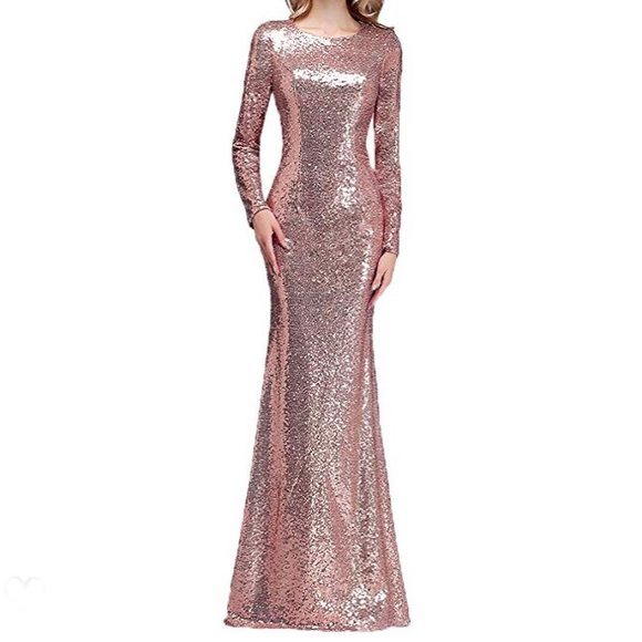 Dresses New Years Eve Rose Gold Sequin Dress Sz 8 Poshmark